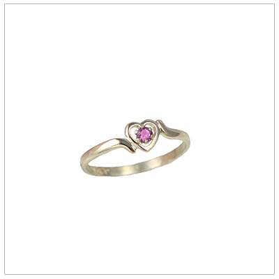 Childrens 10kt gold heart birthstone ring for October.
