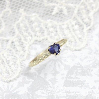 September heart shaped birthstone ring in 10kt gold.