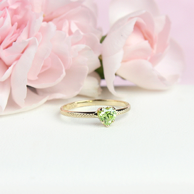 August 10kt heart shaped birthstone ring for girls.