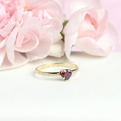 January heart shaped birthstone ring for children.