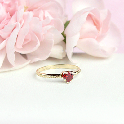 July 10kt heart shaped birthstone ring for girls.