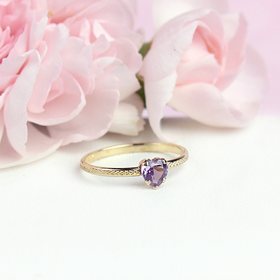 June 10kt heart shaped birthstone ring for girls.