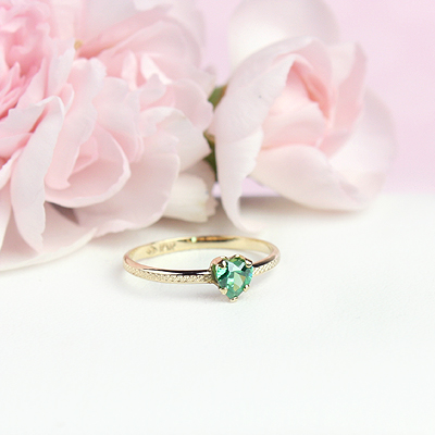 May 10kt heart shaped birthstone ring for girls.