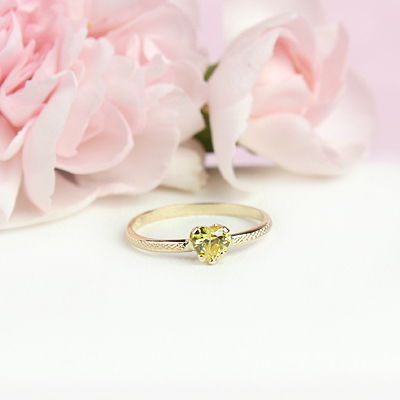 November 10kt heart shaped birthstone ring for girls.