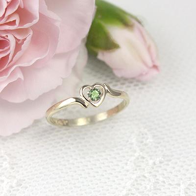 14kt Gold Birthstone Heart Ring