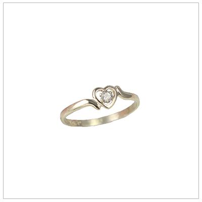 Girls 14kt gold heart birthstone ring for April.
