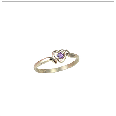 Girls 14kt gold heart birthstone ring for February.