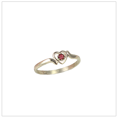 Childrens 14kt gold heart birthstone ring for January.
