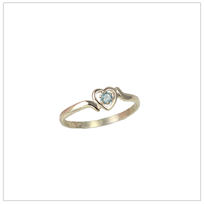 Girls 14kt gold heart birthstone ring for March.