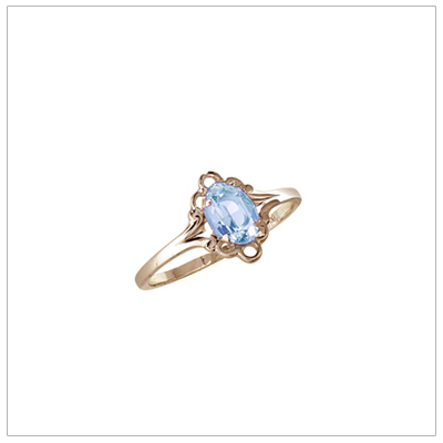 March birthstone ring for girls in 14kt yellow gold with genuine oval birthstone.