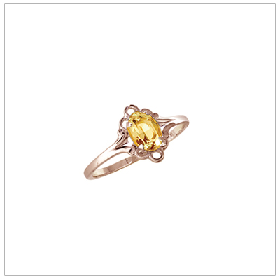 November birthstone ring for girls in 14kt yellow gold with genuine oval birthstone.