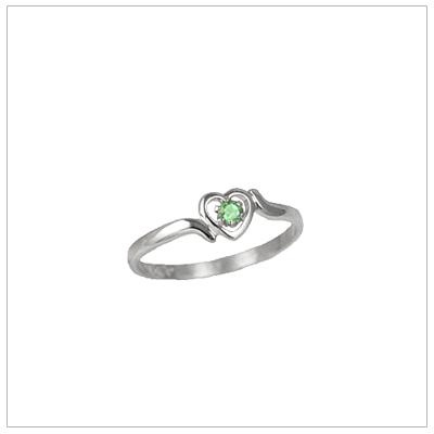 Girls 14kt white gold heart birthstone ring for August.