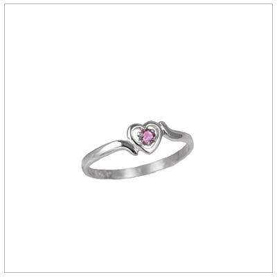 Girls 14kt white gold heart birthstone ring for June.