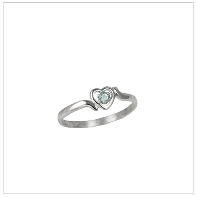 Girls 14kt white gold heart birthstone ring for March.