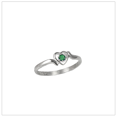 Girls 14kt white gold heart birthstone ring for May.
