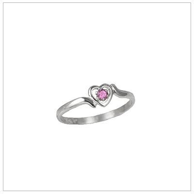 Girls 14kt white gold heart birthstone ring for October.