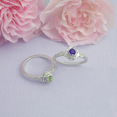 Rose shaped birthstone rings for children and preteens.