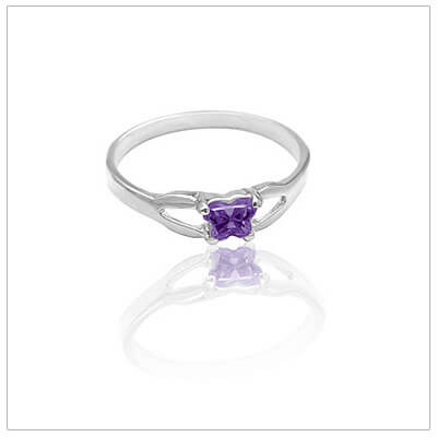 Sterling silver birthstone ring for toddlers with a butterfly-shaped cz birthstone.