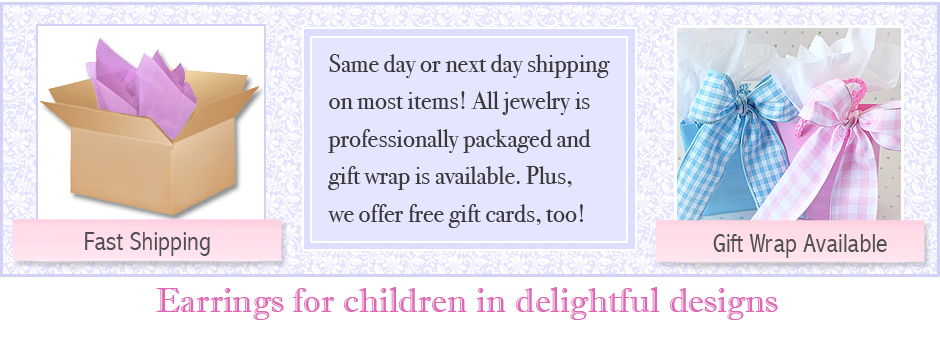 Children's earrings ship fast and gift wrap is available.