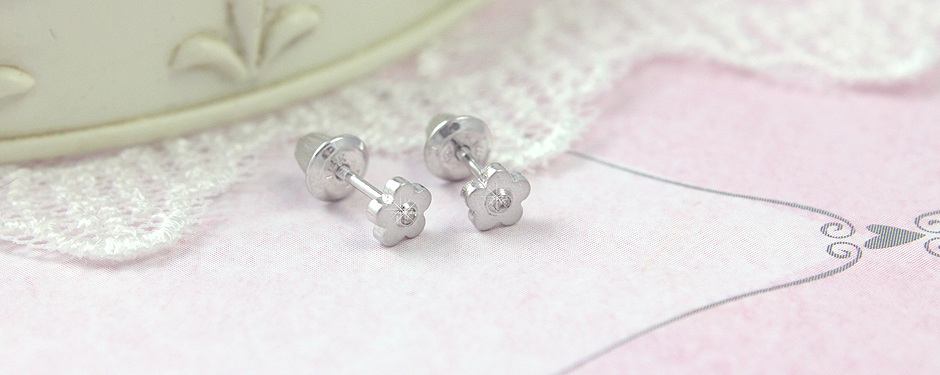 Children's white gold and diamond earrings