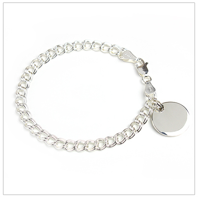 Traditional double-link charm bracelet for girls with engraved disc included.