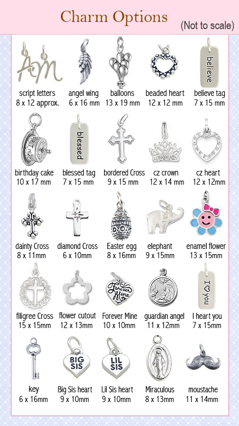 Sterling silver charm options for children's charm bracelets.