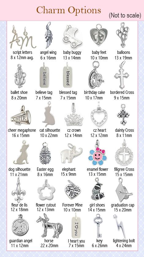 Sterling silver charm options for bracelets.
