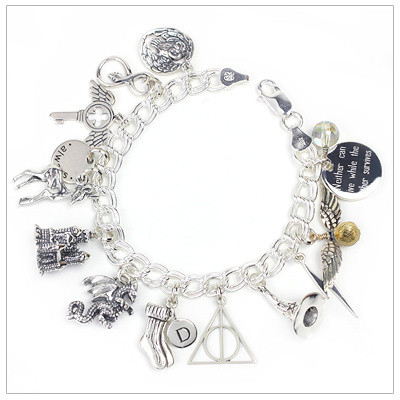 Sterling silver charm bracelet for the Harry Potter fan with 15 charms.