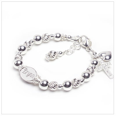 Personalized children's bracelet with custom engraved bead and custom sizing.