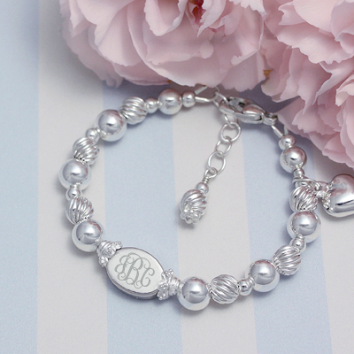 Personalized Bracelets in all sterling silver with custom engraved bead for babies and children