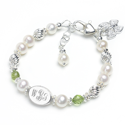 Baby and children's bracelet with custom engraved name, white cultured pearls, and genuine birthstones.