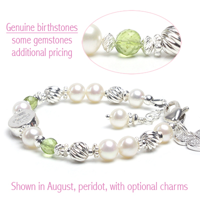 Engraved baby and child bracelet in white cultured pearls, sterling silver, and genuine birthstones.