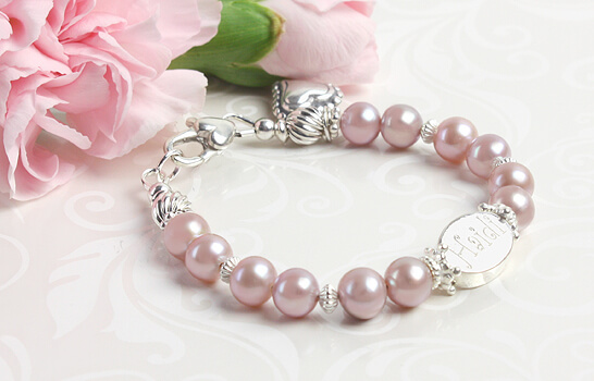 Mauve pearl baby and infant bracelet with engraved sterling bead.