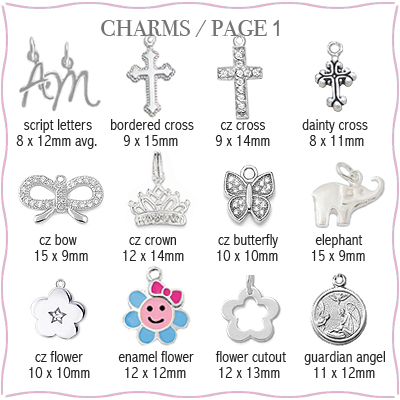 Sterling silver charms to add to children's engraved necklace.