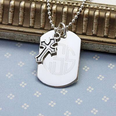 Sterling silver personalized dog tags for boys with Cross; engraving on front and back included.