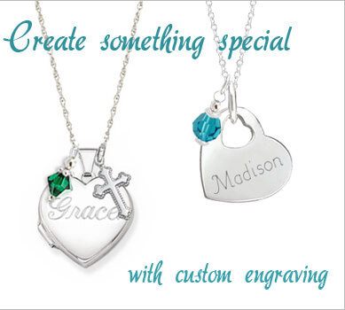 Engraved necklace for children in heart-shaped sterling silver with free birthstone charm and sterling silver heart locket with custom engraving and charms.