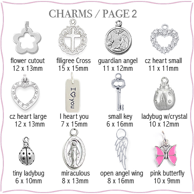 Sterling silver charms to add to personalized heart necklace, page 2.