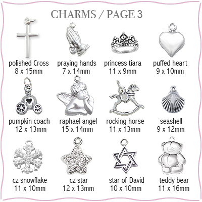 Sterling silver charms to add to personalized heart necklace, page 3.