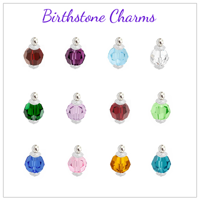 Birthstone charms for personalized heart of my heart necklace.