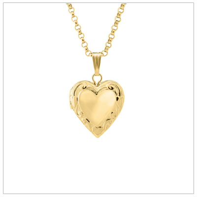 14kt gold heart locket for girls with an embossed pattern. Custom engraving is available for the front and back of the heart locket.