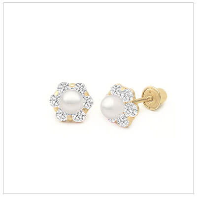 14kt gold clear cz cluster earrings set with a cultured pearl; screw back pearl earrings for babies and children.