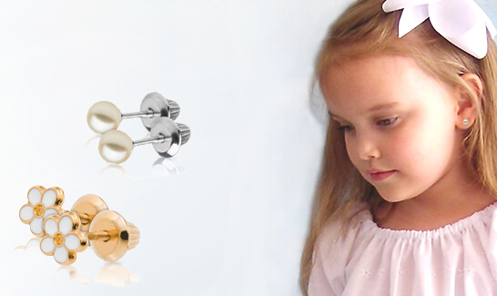 14kt gold flower earrings for kids and cultured pearl earrings in sterling silver; kids earrings with a variety of styles to choose from.
