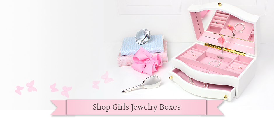 Beautiful glossy white jewelry box for girls with a soft pink interior and pop-up ballerina. The jewelry box has ring rolls, separate compartments, hinged lid with mirror and pull out drawer.