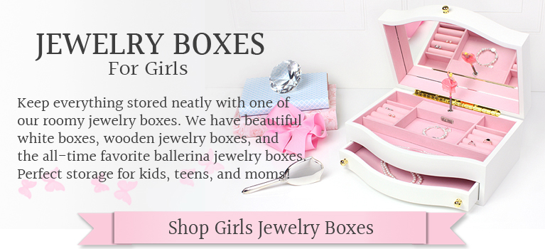Beautiful glossy white jewelry box for girls with a soft pink interior and pop-up ballerina. The jewelry box has ring rolls, separate compartments, hinged lid with mirror and pull out drawer