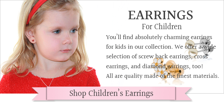 Kids earrings in sterling, 14kt gold, pearls, and more. Earrings for kids in just their size.