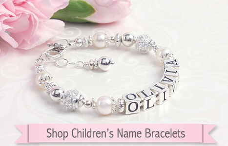 Sterling silver name bracelet for baby and child with cultured pearls and sparkling cz beads.