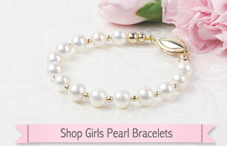 14kt gold and white cultured pearl bracelet for girls with a safety clasp.