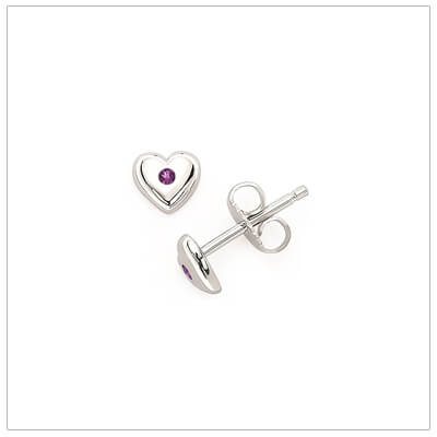 Sterling silver heart shaped birthstone earrings for girls. The heart earrings are set with simulated birthstones for February.