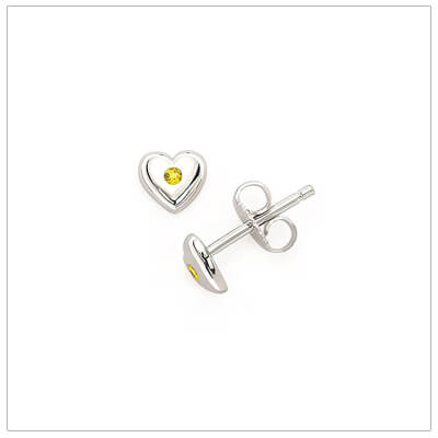 Sterling silver heart shaped birthstone earrings for girls. The heart earrings are set with simulated birthstones for November.