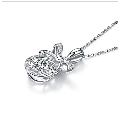 Sterling silver necklace with moving cz for children and teens.